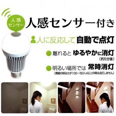 LED電球 人感センサー付き 一般電球タイプ 電球色 6.0W E26 画像2