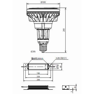 LED電球 ファンレス高効率タイプ 水銀灯形 昼白色 120W 5000K E39 ECOLUX 画像3
