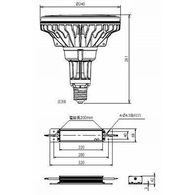 LED電球 ファンレス高効率タイプ 水銀灯形 昼白色 120W 5000K E39 ECOLUX 画像2