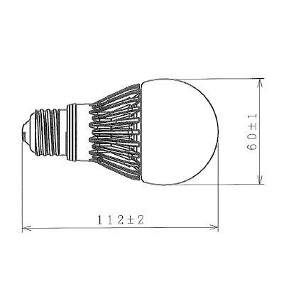 LED電球 一般電球形 広配光タイプ 密閉器具対応 60形 電球色 E26 画像2