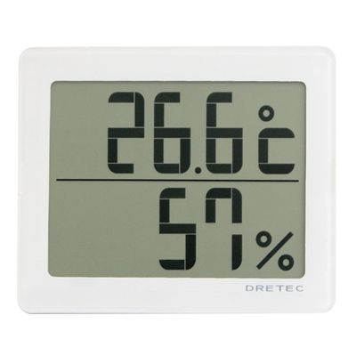 デジタル温湿度計 「アクリア」 ホワイト