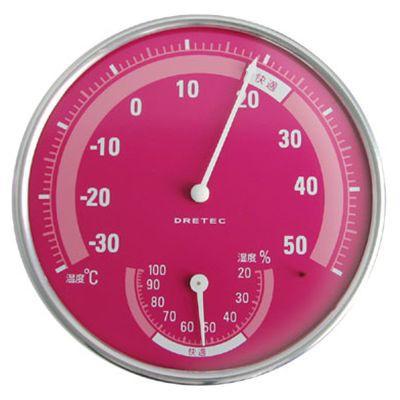 温湿度計 ピンク
