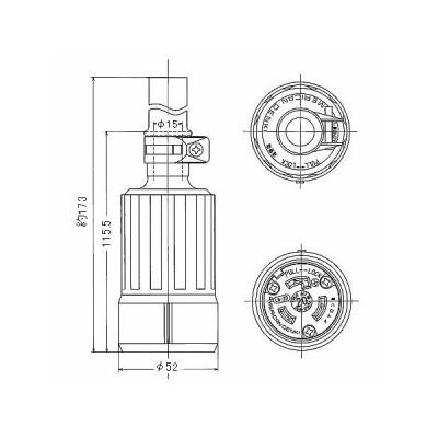 接地2P 引掛形コードコネクタボディ 防水型 20A 250V 黒