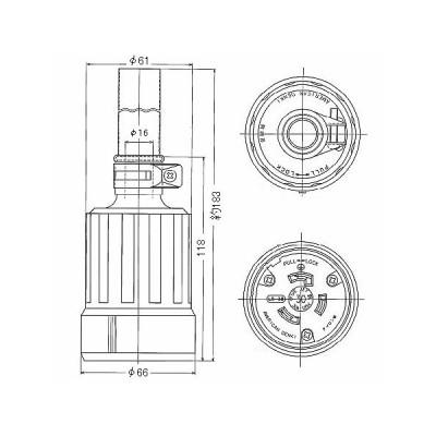 接地2P 引掛形コードコネクタボディ 防水型 30A 125V 黒