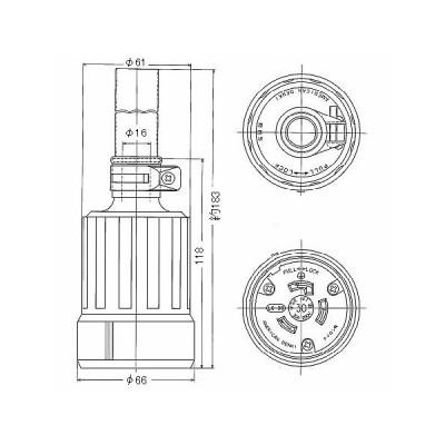 接地2P 引掛形コードコネクタボディ 防水型 30A 250V 黒