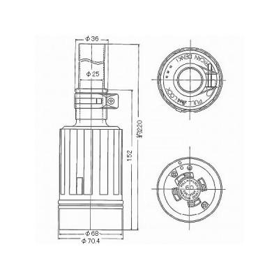 接地3P 引掛形コードコネクタボディ 防水型 60A 250V 黒