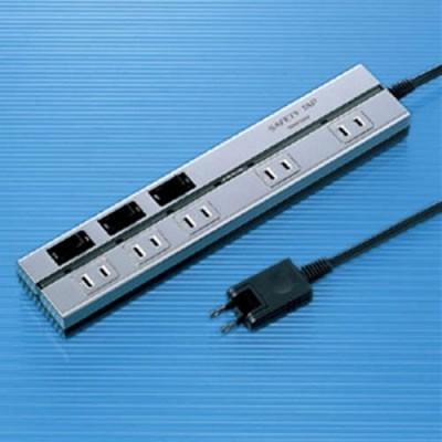 2P セイフティータップ 5個口 電源コード2m 雷サージガード付 シルバー