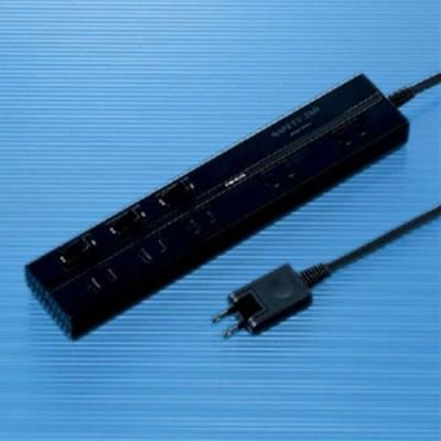 2P セイフティータップ 5個口 電源コード2m 雷サージガード付 ブラック