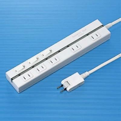 2P セイフティータップ 5個口 電源コード2m 雷サージガード付 ホワイト