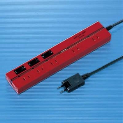 2P セイフティータップ 5個口 電源コード2m 雷サージガード付 レッド
