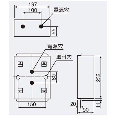 誘導灯 C級 防湿・防雨形(HACCP兼用)用取付ボックス