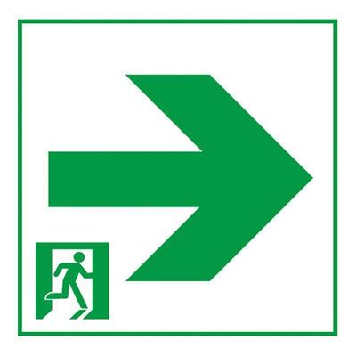 通路誘導灯用適合表示板 矢印右 A級 片面用