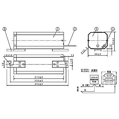 スカイビーム専用安定器 60Hz用 150形 GB型(イグナイタ内蔵器具専用)一般型 高効率 200V