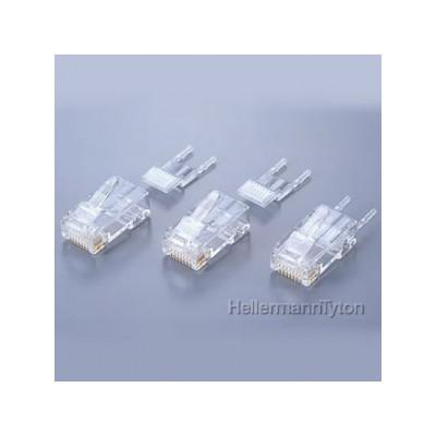 モジュラープラグ 2ピースタイプ 透明 RJ45(8極) 単線・撚線共用 Cat5e 100個入