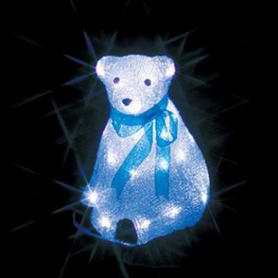 LEDクリスタルモチーフ 屋外仕様 AC100V 2W 0.02A 白クマ(中)