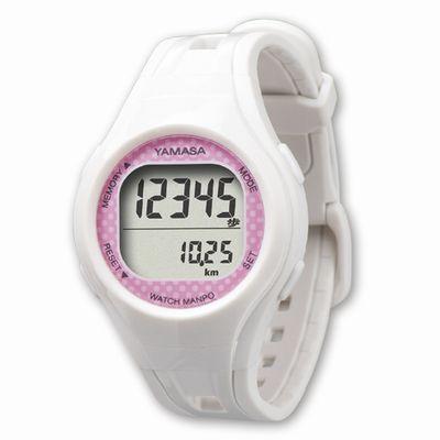 ウォッチ万歩計 腕装着タイプ 腕時計タイプ(ホワイト×ピンク)
