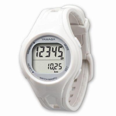 ウォッチ万歩計 腕装着タイプ 腕時計タイプ(ホワイト×シルバー)