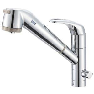 シングル浄水器付ワンホールスプレー分岐混合栓 節水水栓 キッチン用 浄水カートリッジ内蔵タイプ ホース引出し機能付 modello