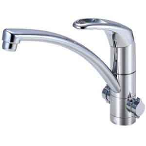 シングルワンホール分岐混合栓 節水水栓 キッチン用 分岐口・分岐アダプター付 modello