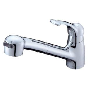 シングルワンホールスプレー混合栓 節水水栓 キッチン用 ホース引出し式 ベロアメッキ仕様 寒冷地用 Kiwitap