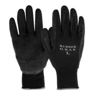 ラバーグラブ(背ヌキ加工) 薄手タイプ 5双組 サイズ:L 黒