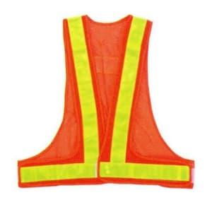 安全ベスト(5cm巾) 着丈:前62×後60cm ウエスト/110〜130cm オレンジ生地×イエローテープ サイズ:フリー