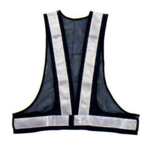 安全ベスト(5cm巾) 着丈:前62×後60cm ウエスト/110〜130cm 紺生地×シルバーテープ サイズ:フリー