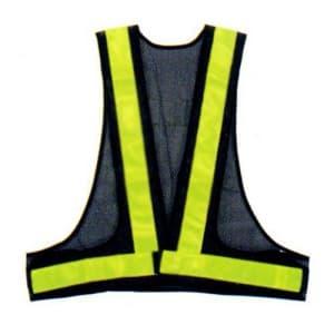 安全ベスト(5cm巾) 着丈:前62×後60cm ウエスト/110〜130cm 紺生地×イエローテープ サイズ:フリー