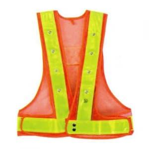 フラッシュセーフティーベスト(6cm巾) 着丈:前62×後60cm ウエスト/110〜130cm オレンジ生地×イエローテープ サイズ:フリー
