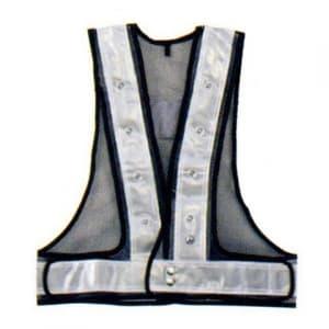 フラッシュセーフティーベスト(6cm巾) 着丈:前62×後60cm ウエスト/110〜130cm 紺生地×シルバーテープ サイズ:フリー