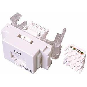 LANモジュラジャック ツールレスタイプ Cat.5e対応 ホワイト色