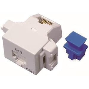 LANモジュラジャック ジャックタイプ Cat.6対応 ホワイト色