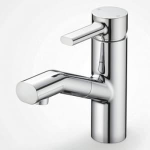 洗面用シングルレバー式混合栓 ホース引出し式 寒冷地用 逆止弁なし 水受トレー付 泡沫吐水 《equalシリーズ》