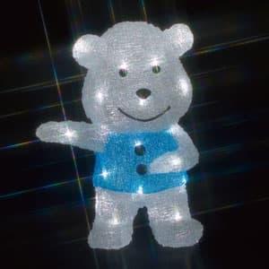 LEDクリスタルモチーフ 白クマ(中) 乾電池式