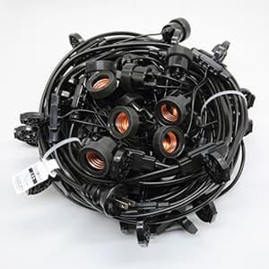 ワンタッチ提灯コード ライトタイプ 屋内用 30灯 全長17.5m E26ソケット 防水プラグ付