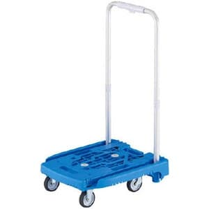 小型樹脂製運搬車 《アイドルキャリー weego》 PULLタイプ 伸縮式折りたたみハンドルタイプ ブルー