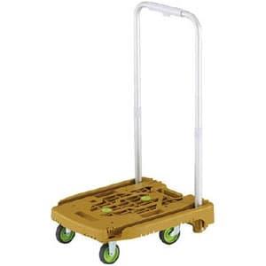 小型樹脂製運搬車 《アイドルキャリー weego》 PULLタイプ 伸縮式折りたたみハンドルタイプ オリーブ