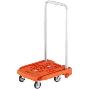 小型樹脂製運搬車 《アイドルキャリー weego》 PULLタイプ 伸縮式折りたたみハンドルタイプ オレンジ
