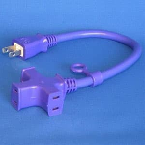 トライアングルマルチタップ延長コード 3個口 0.3m 紺