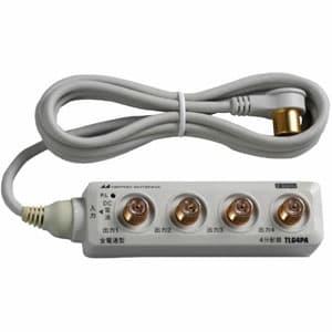 4分配器 CS・BS対応 全電通タイプ F型 屋内用 DC専用 固定用アタッチメント付属 入力ケーブル(2C)1.5m付
