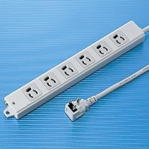工事物件タップ L型プラグ 3P・6個口・3m 抜け止めタイプ マグネット付 エココード(エコケーブル)採用