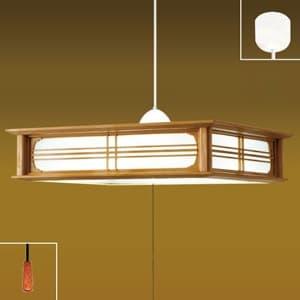 LEDペンダントライト 〜8畳用 和風タイプ 単色調光 昼光色 リモコン付 樹脂枠(木調茶色)