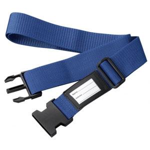 スーツケースベルト ワンタッチ式 ネームタグ付 ブルー