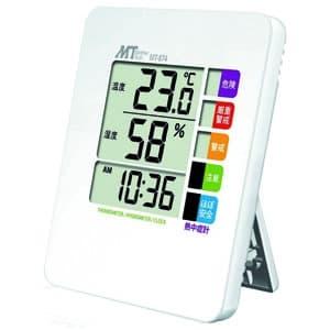 熱中症警戒表示付温湿度計 警戒度5段階表示 壁掛け用フック穴・スタンド付