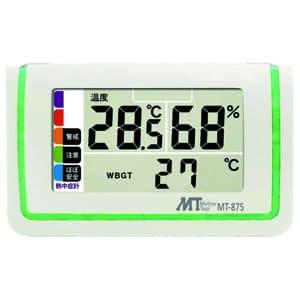 熱中症指数表示付温湿度計 警戒度5段階表示 LEDバックライト・アラーム機能付