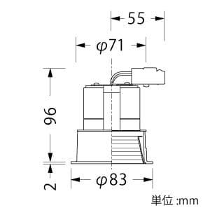 LED一体型ダウンライト ベースタイプ 調光対応 ダイクロミラーハロゲン50W相当 白色 配光角度27° 天井切込穴φ75mm 白バッフルタイプ 画像2