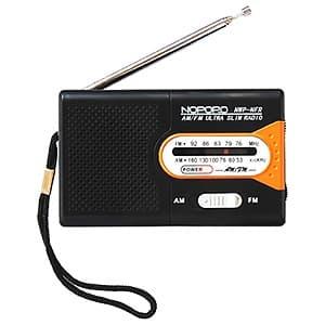 ミニAM・FMラジオ 水電池単3形×2本・ストラップ付