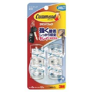 コマンドフック ミニ はがせる粘着テープ式 クリア フック6個・タブS12枚入