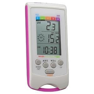 乾燥指数計・熱中症指数計付きUVチェッカー 時計表示機能・白色LEDライト付