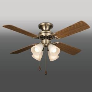 シーリングファン 電球別売タイプ 風量切替機能付 60W形相当まで×4 金古美色メッキ仕上 オーク/ホワイトオーク 4961238001572